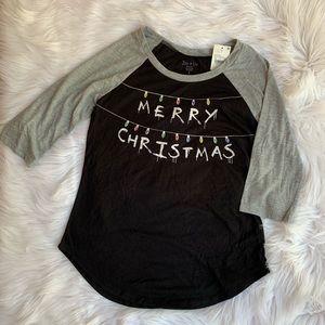 Merry Christmas Black & Grey Raglan 3/4 Sleeve Tee